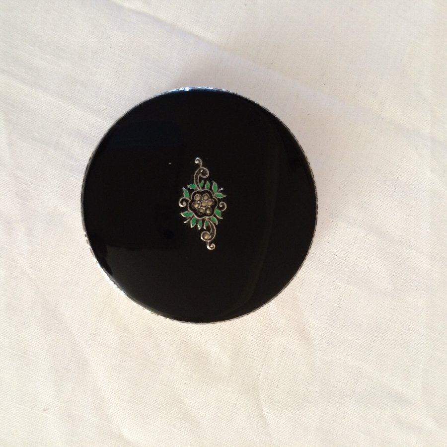 Antique Silver and Black Enamel Compact with Marcasite