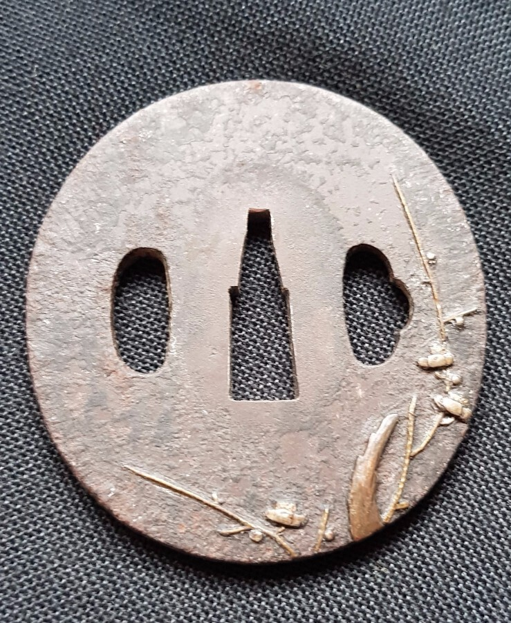 Antique JAPANESE FLOWER REED TSUBA