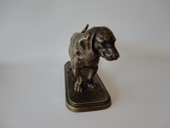 Antique Antique Bronze Figure Basset Hound
