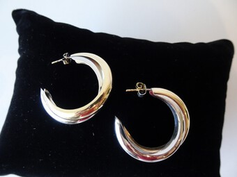 Antique Vintage 9K Gold Hoop Earrings