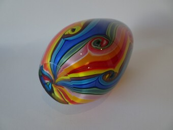 Antique Murano Rainbow Coloured Swirl Vase by Fratelli Toso