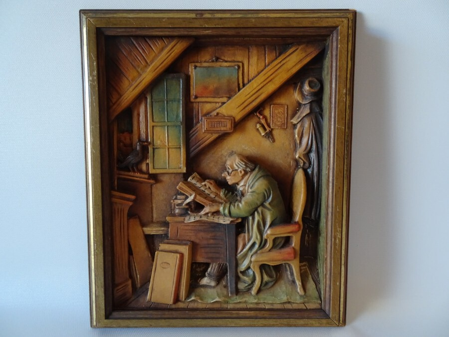 Antique Rare Original Anri Woodcarving 'The Visit'