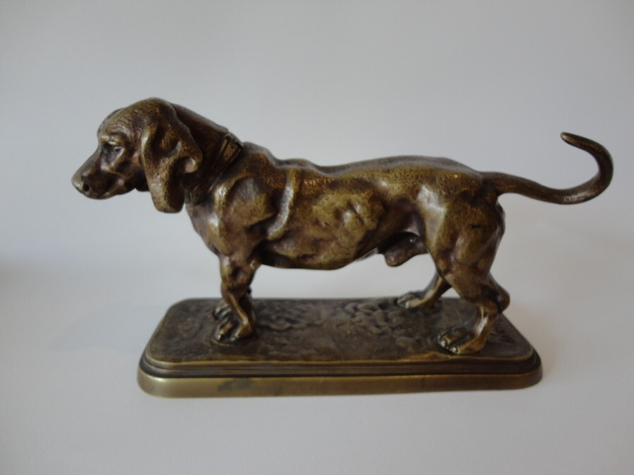 Antique Bronze Figure Basset Hound