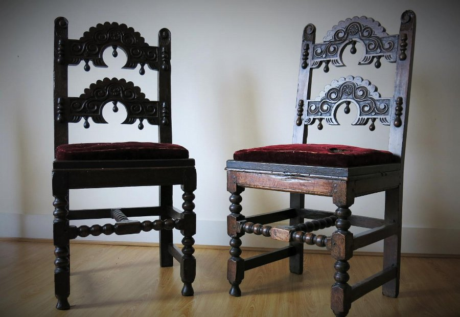 Antique 16th & 17th Century Period Oak Country English Furniture, Medieval Carving, Early Lighting, Metalware.
