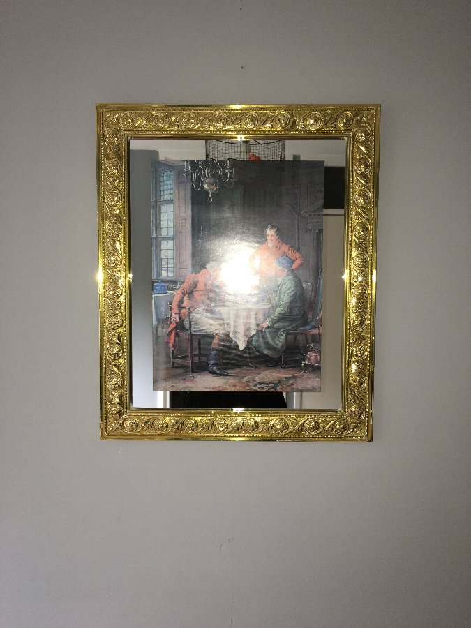 Antique Brass Framed Mirror with Print -