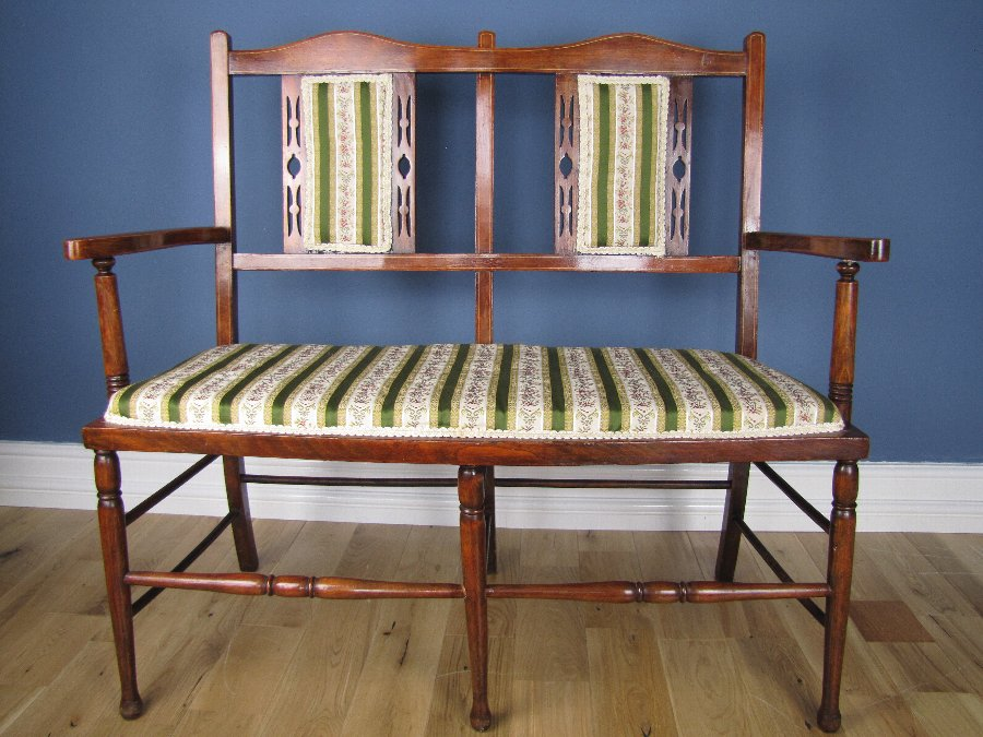 Arts & Crafts Satinwood Inlaid Mahogany Salon Settee