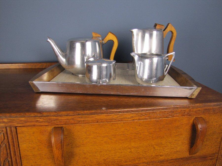 Antique 1950 S 5 Piece Picquot Ware Tea Set Incl Tray Art Deco Style Antiques Co Uk