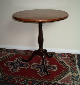 Antique Antique 19th Century Welsh Folk Art Inlaid With Mixed Woods Tripod Table