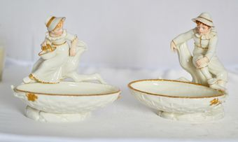 Antique 1882 A Delightful Pair of Royal Worcester Figural Comports in the Hadley Style