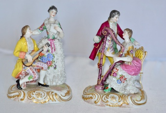 German Porcelain Figures Of Two Courting Couples,. Late 19th /early 20th Century