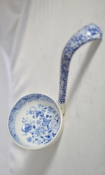 Antique Minton 1820-1830's Florentine pattern soup ladle