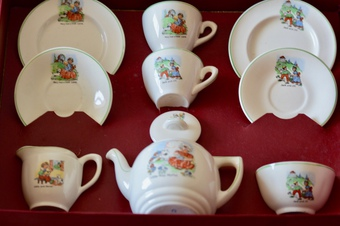 Antique The tea set is In very good condition with only some crazing as expected due to age. The original box is showing signs of wear but importantly it is original