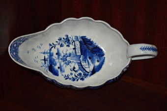 Antique 18th Century Derby Blue and White Chinoiserie Sauce Boat