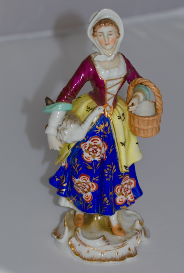 Late 19th Century Samson Porcelain Figure of Lady with Goose under her arm