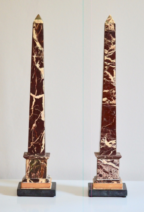 Stunning Pair of 19th Century 'Grand Tour' Figured Griotte Marble Obelisks