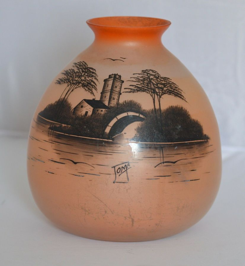 Art Deco Handprinted on Opaque Glass Vase signed JOMA from around 1930 -1935.