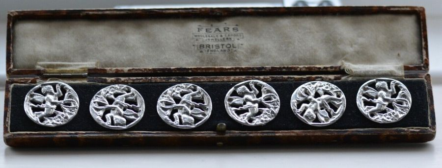 Six Art Deco Cased Solid Silver Angel Cherub Buttons by Nathan & Hayes 1919