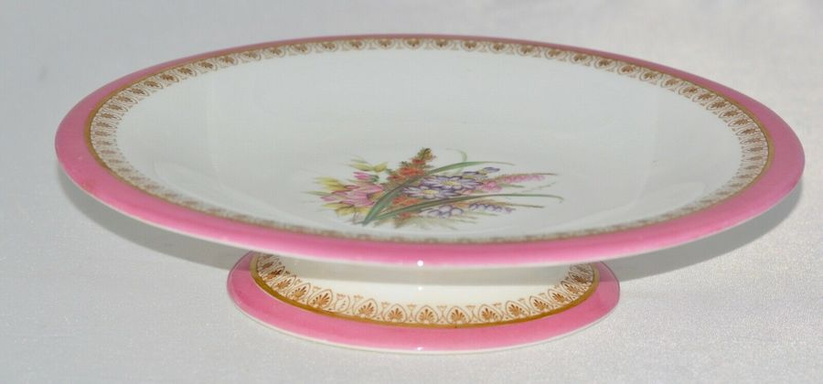 1879 Royal Worcester Hand Painted Pedestal Dish in Floral Pink and Gold