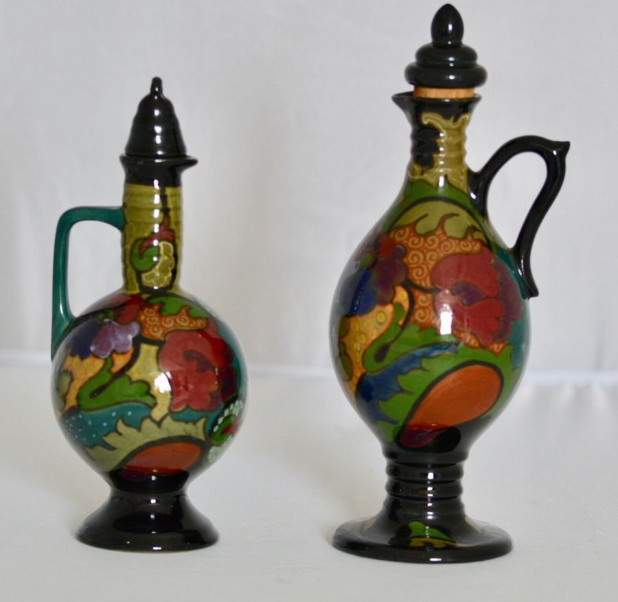 Two Beautiful Dutch Art Deco / Art Nouveau Gloss Plated Liqueur Jugs C1920's