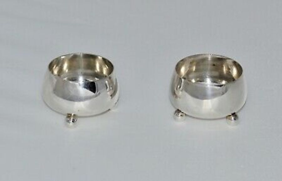 Antique 1881 Pair of Solid Silver Salts - Birmingham - B H Joseph