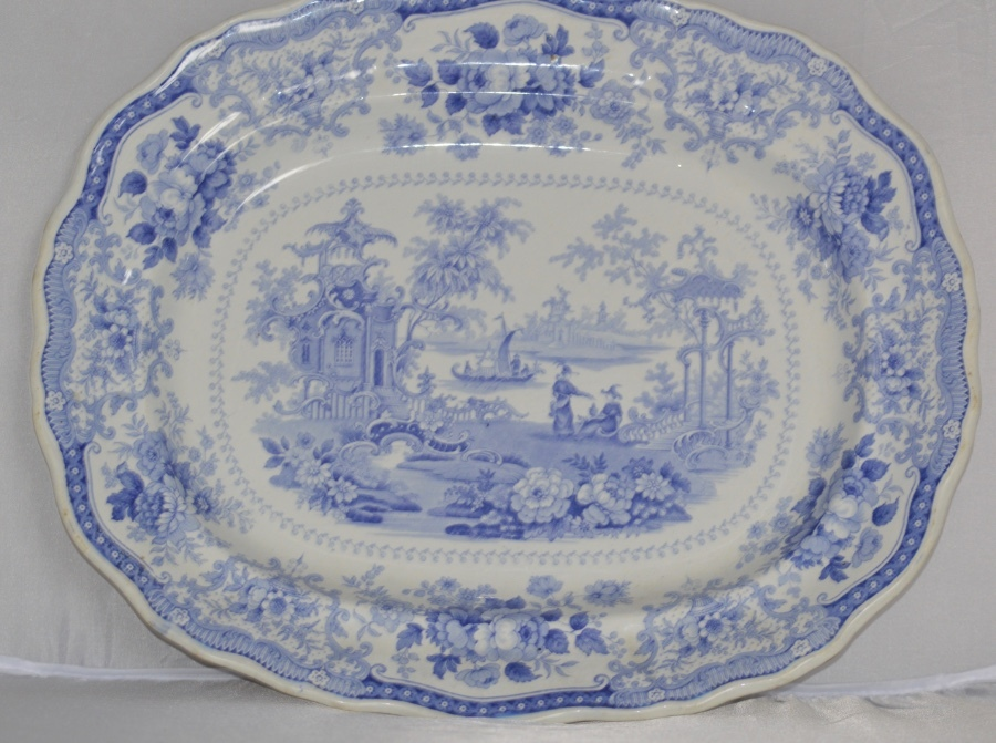 John Meir & Sons - Fairy Villas Series - Large Antique China Platter - C1840