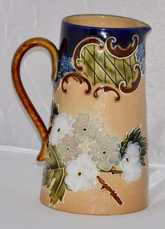 C1895 - Royal Doulton - Lambeth Stoneware Tall Jug - Slaters Floral Design