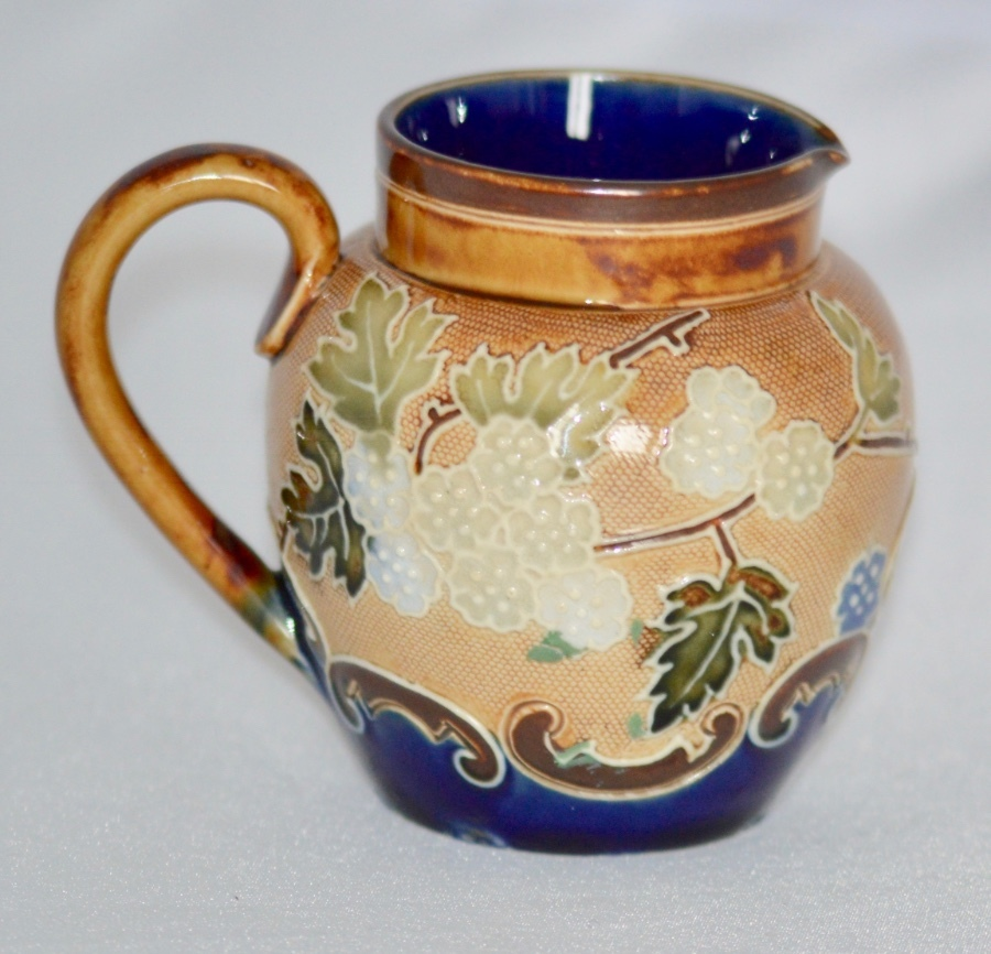 C1895 - Royal Doulton - Lambeth Stoneware Jug - Slaters Floral Design