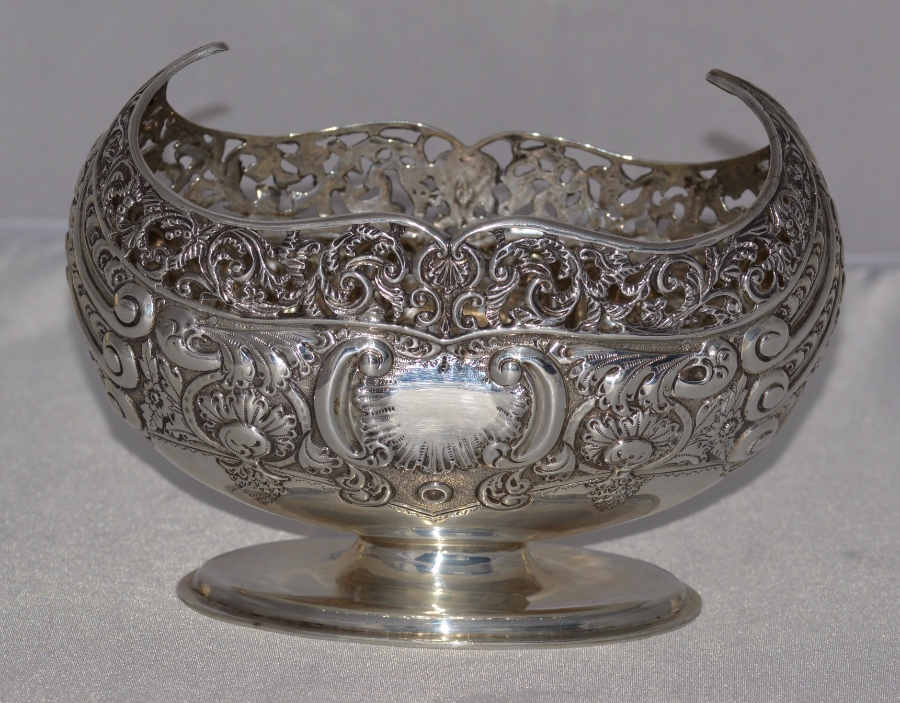 Antique Edwardian Navette-shaped silver bowl, London, c.1907, Josiah Williams & Co