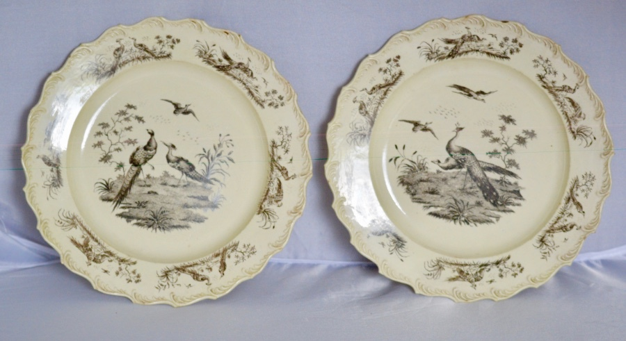 A Superb Pair of 18th Century Wedgwood Printed Creamware Dessert Plates