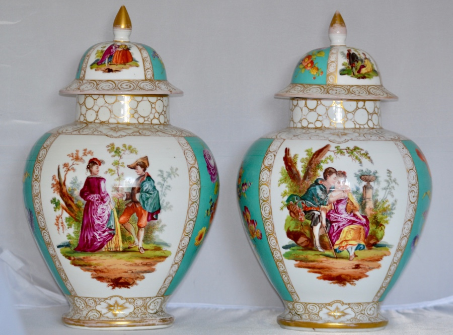 Stunning Pair of Substantial Late 19th Century German Dresden Porcelain Vases