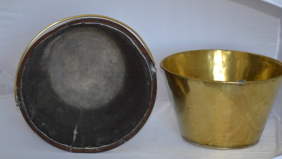 Antique A Dutch Brass Bound Peat Bucket, 19th Century, With Ring Turned Body + Brass