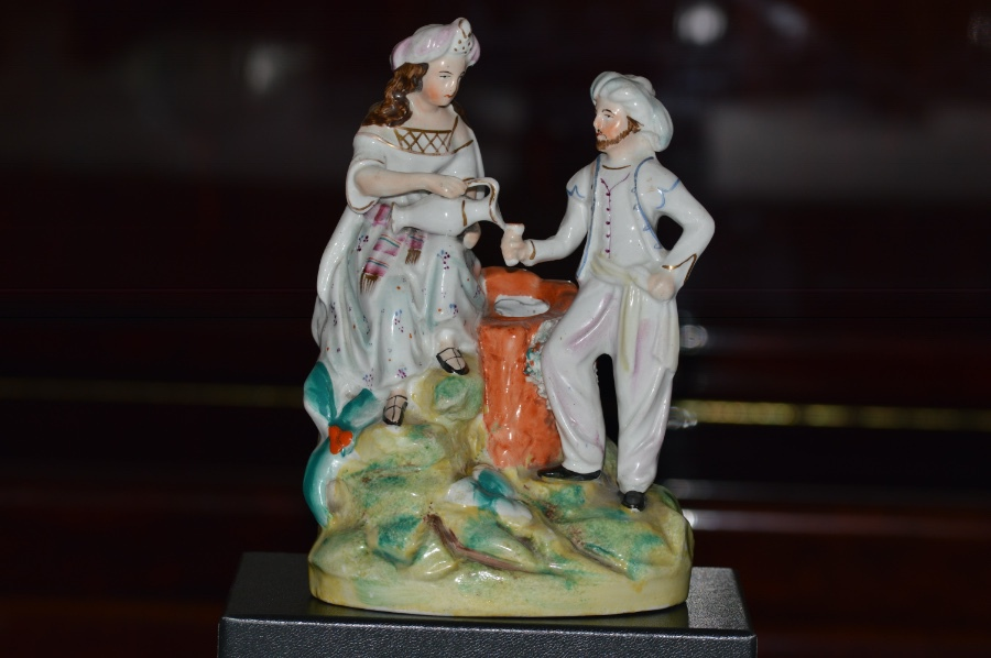 Antique Staffordshire Thomas Parr Figure of Rebekah + Abrahams Servant by Well  1850/60
