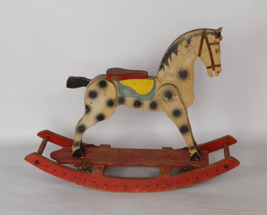 Charming French Painted Rocking Horse