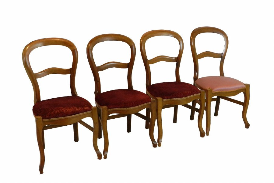 Antique Set of Four French Balloon Back Dining Chairs