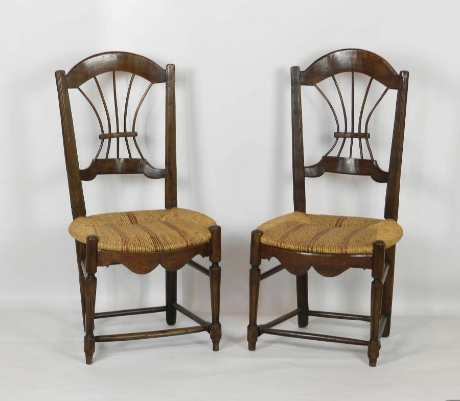 Pair French Country Rush Seated Wheat Back Chairs