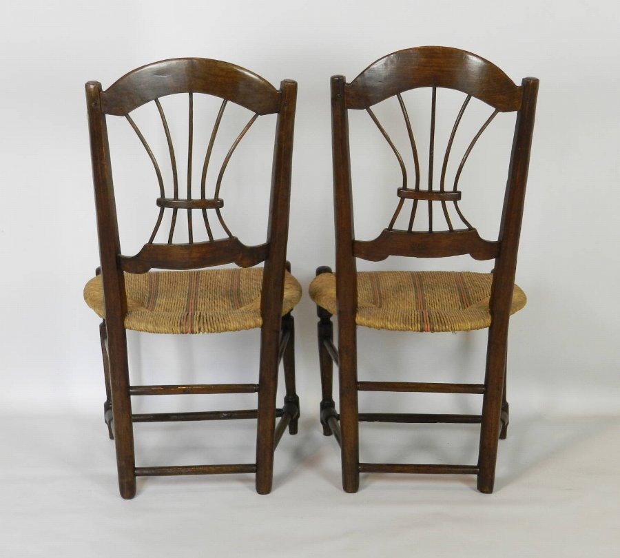 Antique Pair French Country Rush Seated Wheat Back Chairs