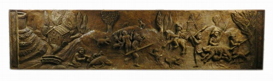 Impressive Decorative Folk Art Carved Wooden Panel