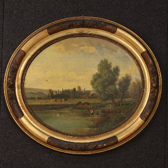 Antique French landscape painting of the late 19th century