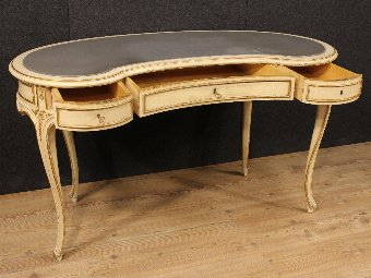 Antique French lacquered and gilded writing desk