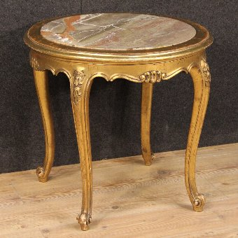 Antique French golden coffee table with marble top