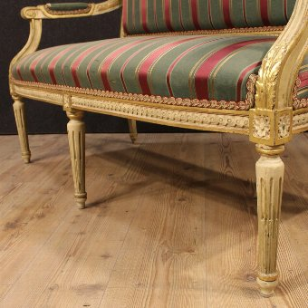 Antique Italian lacquered and gilded sofa in Louis XVI style