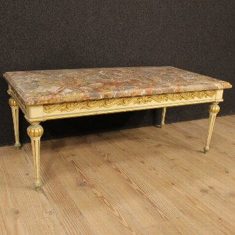 Antique Great Italian coffee table with marble top