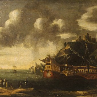 Antique Antique Italian seascape painting of the 18th century