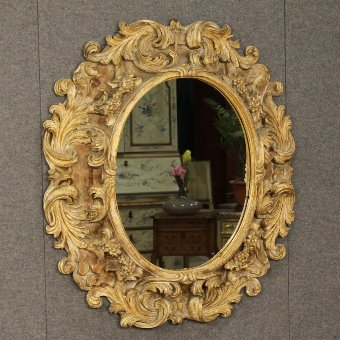 Antique Great Italian mirror in carved and gilded wood