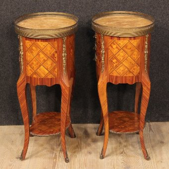 Antique Pair of French inlaid bedside tables with marble top