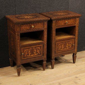 Antique Pair of Italian inlaid bedside tables in Louis XVI style