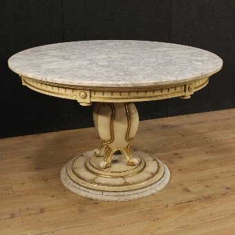 Antique Great French lacquered and gilded table with top and base in marble