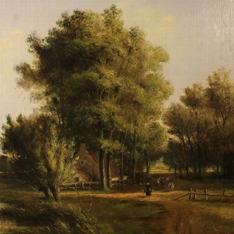Antique Antique Flemish landscape painting of the 19th century
