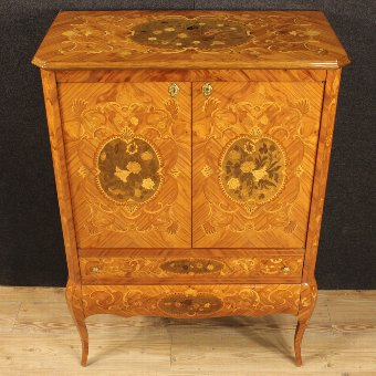 Antique French inlaid wet bar with floral decorations
