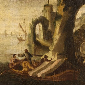 Antique Antique Italian painting seascape with boats and fishermen of the 18th century